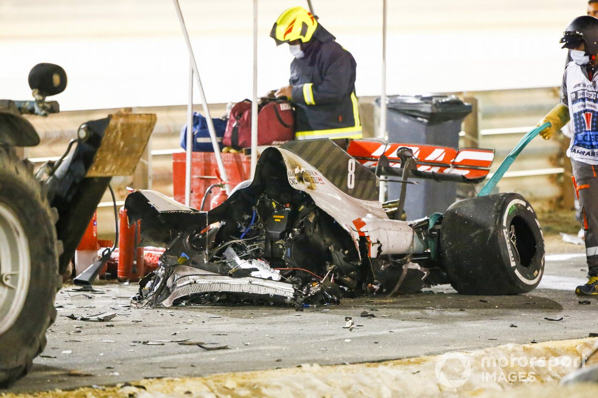 Wreckage of the car of Romain Grosjean, Haas VF-20, after his huge crash