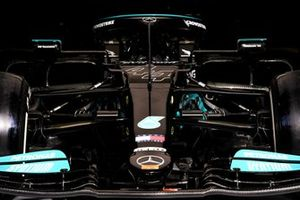 The car of Lewis Hamilton, Mercedes W12, in the garage