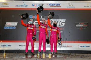 #52 PR1 Mathiasen Motorsports ORECA LMP2 07: Ben Keating, Mikkel Jensen, Scott Huffaker on the podium