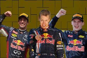 Daniel Ricciardo, Sebastian Vettel, Max Verstappen, Red Bull Racing