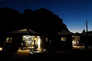 The JBXE Extreme-E Team service area at night