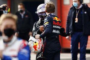 Lewis Hamilton, Mercedes, 2nd position, congratulates race winner Max Verstappen, Red Bull Racing
