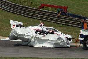 La voiture endommagée de Josef Newgarden, Team Penske Chevrolet