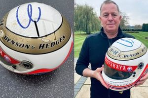 Martin Brundle with his Jordan helmet from 1996
