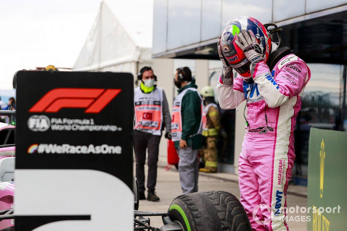 Segundo lugar Sergio Pérez, Racing Point en Parc Ferme