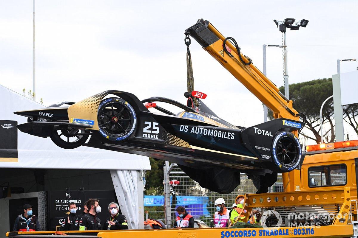 El coche accidentado de Jean-Eric Vergne, DS Techeetah, DS E-Tense FE21
