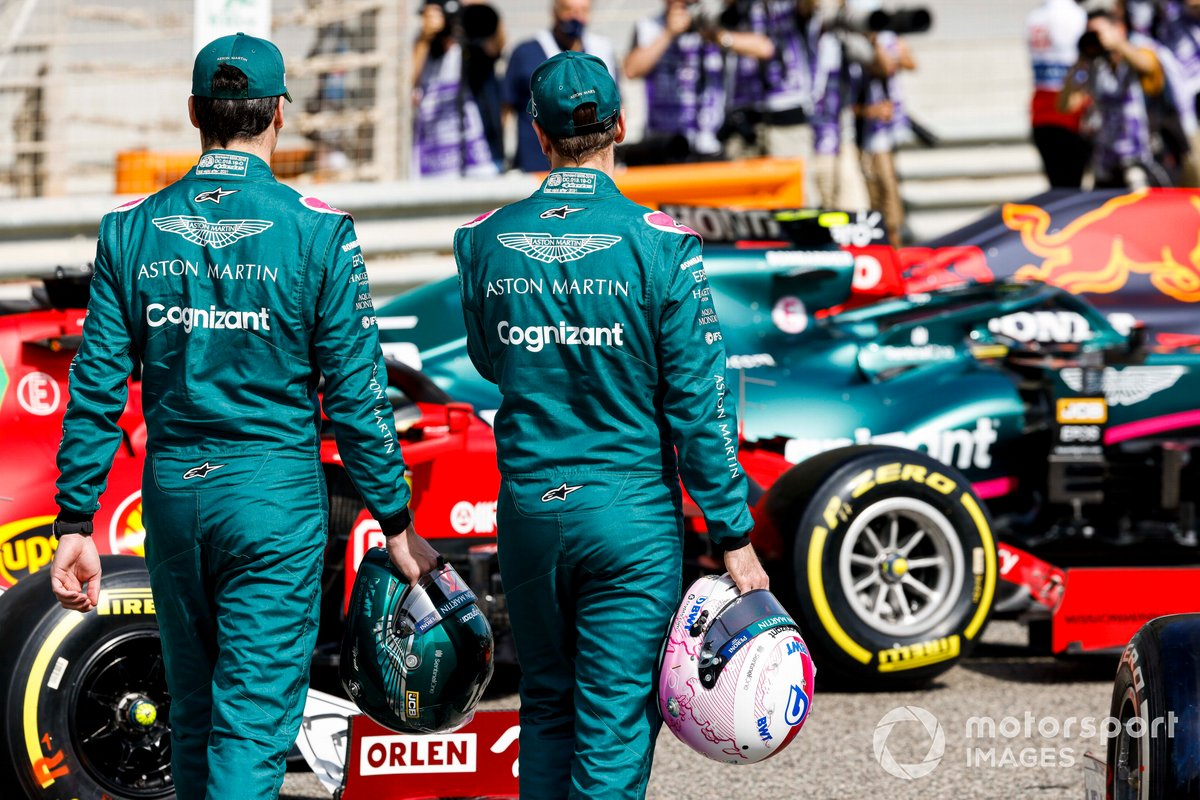 Lance Stroll, Aston Martin y Sebastian Vettel, Aston Martin