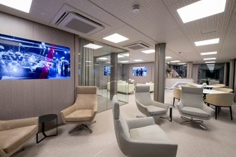 Racing Point motorhome interior view by Huslig Collective