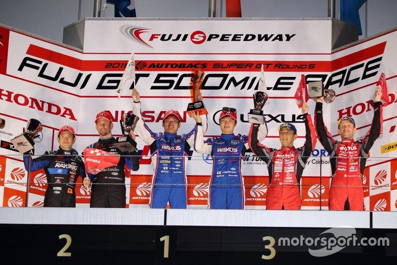 山下健太、大嶋和也(#6 WAKO'S 4CR LC500)山本尚貴、ジェンソン・バトン(#1 RAYBRIG NSX-GT)ロニー・クインタレッリ、松田次生(#23 MOTUL AUTECH GT-R)