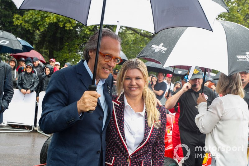 Lord March and Corinna Schumacher before the Michael Schumacher Celebration