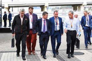 Ross Brawn, Managing Director of Motorsports, FOM, Alexy Titov, Executive Director, Rosgonki, Dmitry Kozak, Deputy Prime Minister of Russian Federation, and Chase Carey, Chairman, Formula 1