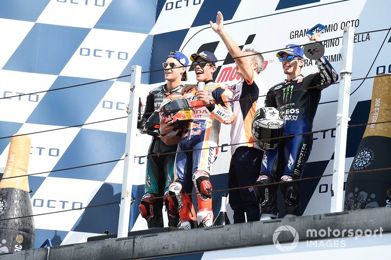 #51 Marc Marquez, Repsol Honda Team, second place Fabio Quartararo, Petronas Yamaha SRT, third place Maverick Vinales, Yamaha Factory Racing