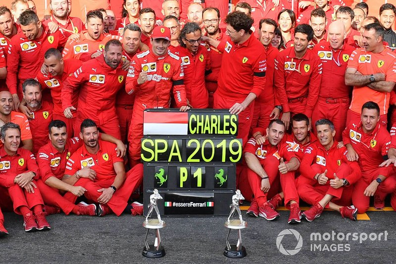 Charles Leclerc, Ferrari, 1st position, Mattia Binotto, Team Principal Ferrari, Laurent Mekies, Sporting Director, Ferrari, and the Ferrari team celebrate victory