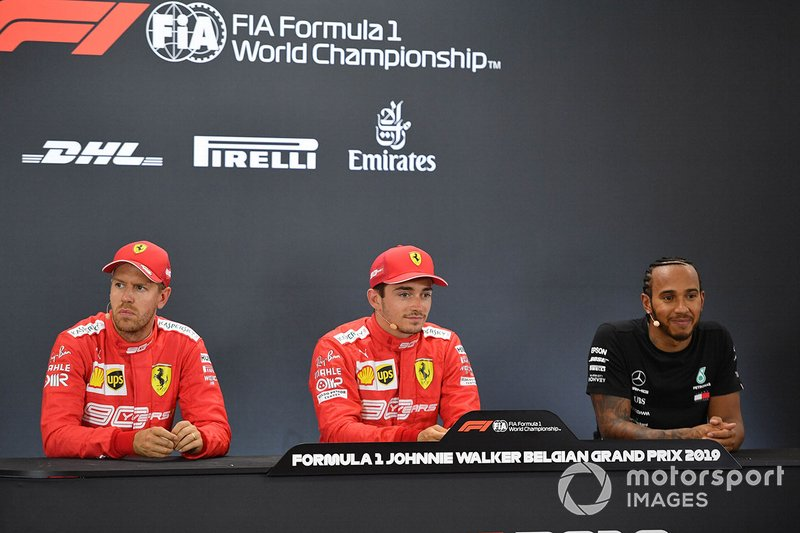 Pole pozisyonu galibi Charles Leclerc, Ferrari, Sebastian Vettel, Ferrari, Lewis Hamilton, Mercedes AMG F1