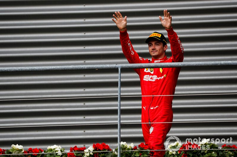 Charles Leclerc, Ferrari, celebrates victory on the podium