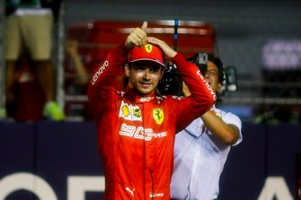 Pole Sitter Charles Leclerc, Ferrari celebrate in Parc Ferme