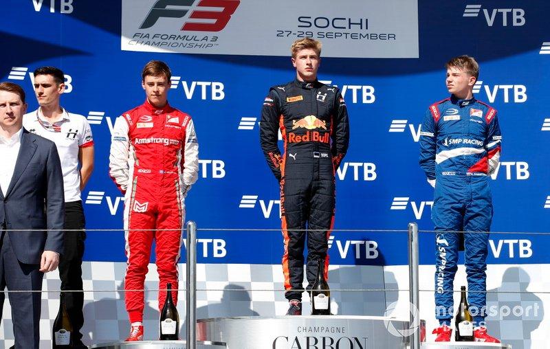 Race winner Juri Vips, Hitech Grand Prix, Marcus Armstrong, PREMA Racing and Robert Shwartzman (RUS PREMA Racing on the podium