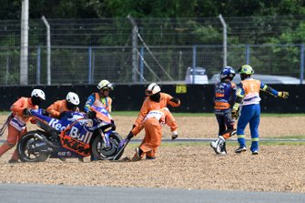 Miguel Oliveira, Red Bull KTM Tech 3 after his crashes