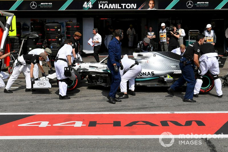 Lewis Hamilton, Mercedes AMG F1 W10, in the pit lane during Qualifying