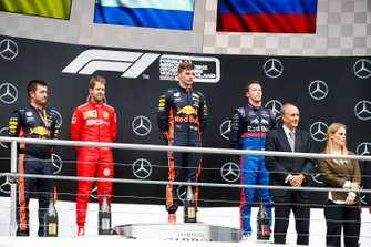 Sebastian Vettel, Ferrari, Race Winner Max Verstappen, Red Bull Racing and Daniil Kvyat, Toro Rosso on the podium