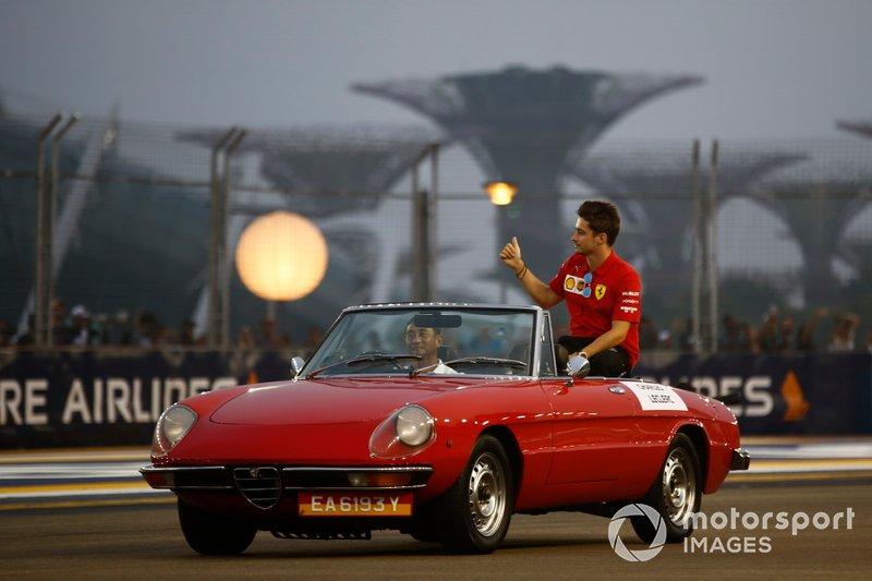 Charles Leclerc, Ferrari, on the drivers parade
