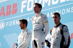 Alexander Sims, BMW I Andretti Motorsports, BMW iFE.18, Robin Frijns, Envision Virgin Racing, Audi e-tron FE05, Sébastien Buemi, Nissan e.Dams, Nissan IMO1, on the podium