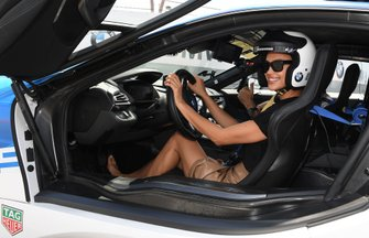 Irina Shayk in the BMW i8 Safety car