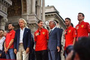 Giancarlo Fisichella, Luca di Montezemolo y Sebastian Vettel, Ferrari
