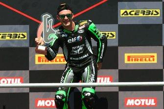 Lucas Mahias, Kawasaki Puccetti Racing picks up the winners trophy