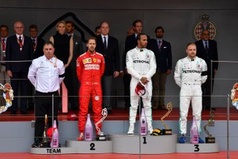Ron Meadows, Sporting Director, Mercedes AMG, Sebastian Vettel, Ferrari, 2nd position, Lewis Hamilton, Mercedes AMG F1, 1st position, and Valtteri Bottas, Mercedes AMG F1, 3rd position, on the podium