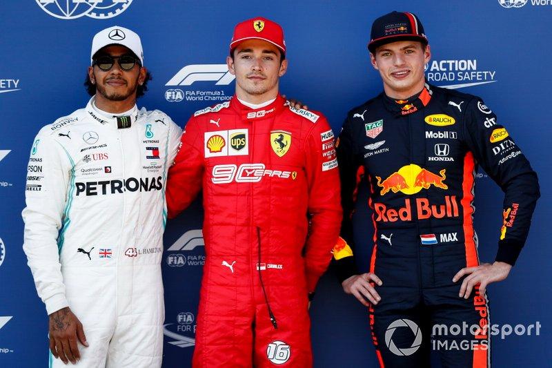 Lewis Hamilton, Mercedes AMG F1, Pole Sitter Charles Leclerc, Ferrari e Max Verstappen, Red Bull Racing al Parc Ferme