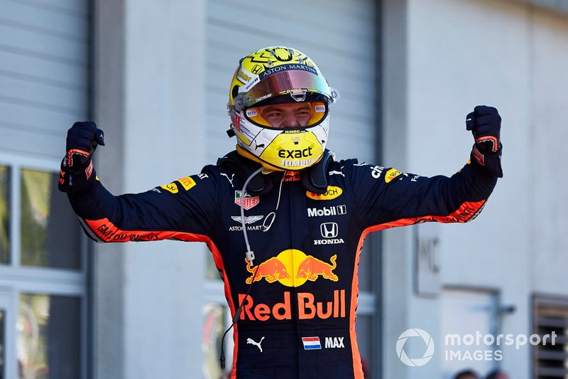 Race winner Max Verstappen, Red Bull Racing, celebrates in Parc Ferme
