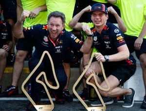 Christian Horner and Max Verstappen, Red Bull Racing celebrates with the team