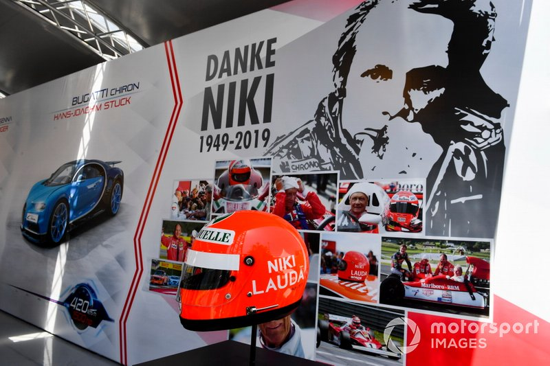 Helmet of Niki Lauda on display
