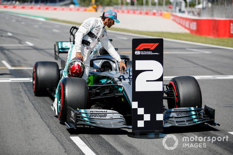 Lewis Hamilton, Mercedes AMG F1 W10, inspects his car after Qualifying second on the grid