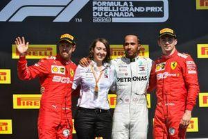 Sebastian Vettel, Ferrari, Lewis Hamilton, Mercedes AMG F1 and Charles Leclerc, Ferrari celebrate on the podium