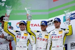 Podium: derde #98 Rowe Racing BMW M6 GT3: Connor De Philippi, Tom Blomqvist, Mikkel Jensen