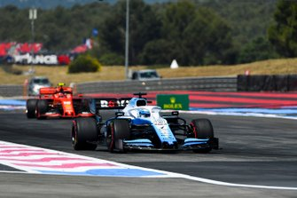 Nicholas Latifi, Williams FW42, leads Charles Leclerc, Ferrari SF90