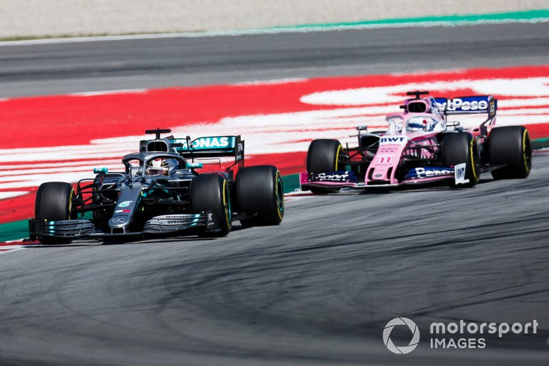Lewis Hamilton, Mercedes AMG F1 W10, leads Sergio Perez, Racing Point RP19