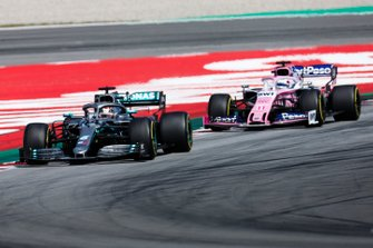 Lewis Hamilton, Mercedes AMG F1 W10, leads Sergio Perez, Racing Point RP19