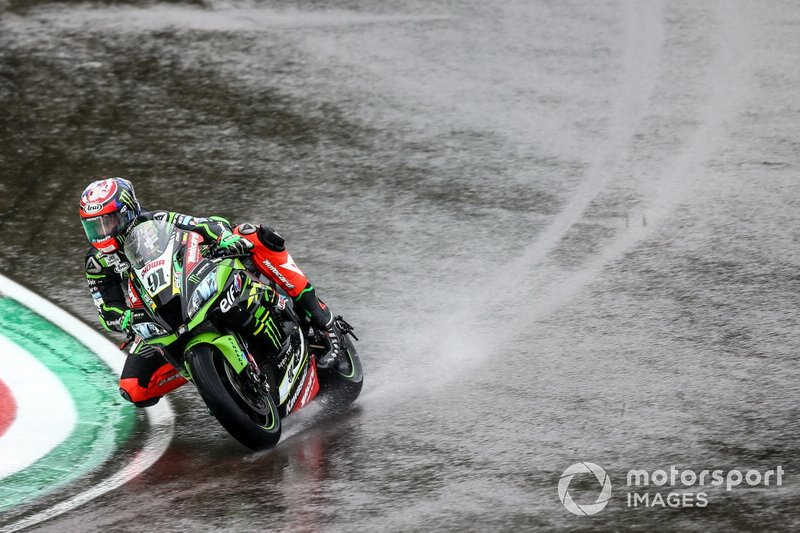 Leon Haslam, Kawasaki Racing Team on wet assessment lap