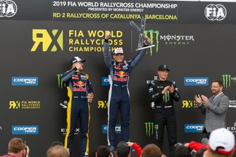 Podium: Race winner Timmy Hansen, Team Hansen MJP, second place Kevin Hansen, Team Hansen MJP, third place Andreas Bakkerud, Monster Energy RX Cartel