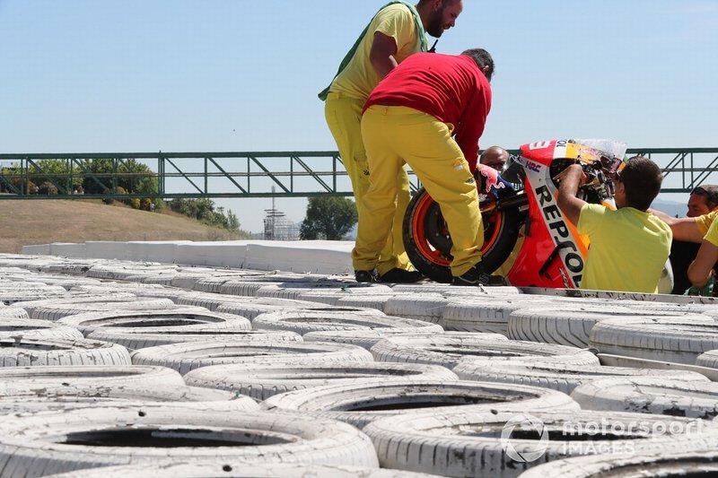 Moto Jorge Lorenzo, Repsol Honda Team tras la caída