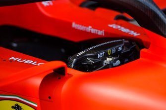 Rear of Sebastian Vettel, Ferrari SF90 steering wheel