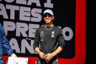 Lewis Hamilton, Mercedes AMG F1 on stage at the Fan Zone