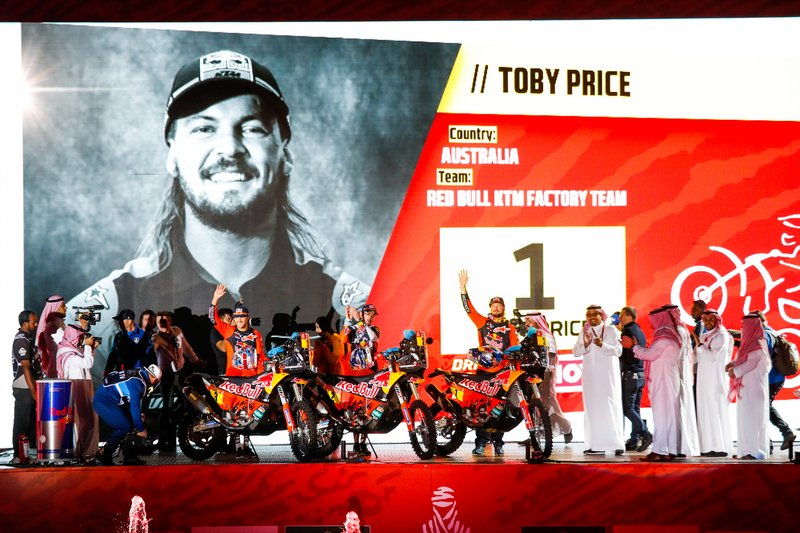 #1 Red Bull KTM Factory Racing: Toby Price. #2 Red Bull KTM Factory Racing: Matthias Walkner, #3 Red Bull KTM Factory Racing: Sam Sunderland