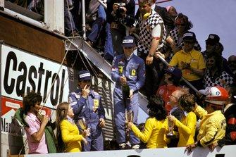 Podium: 1. Niki Lauda, 2. Clay Regazzoni, 3. Emerson Fittipaldi