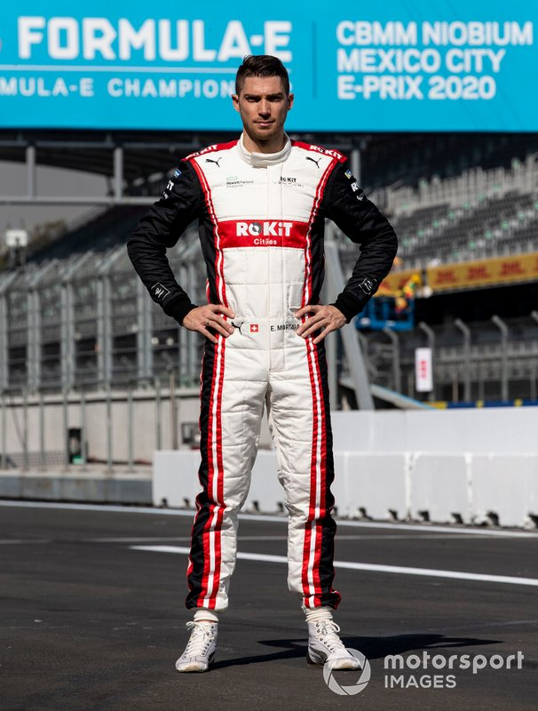 Edoardo Mortara, Venturi, EQ Silver Arrow 01 poses for a photograph in his racing overalls.