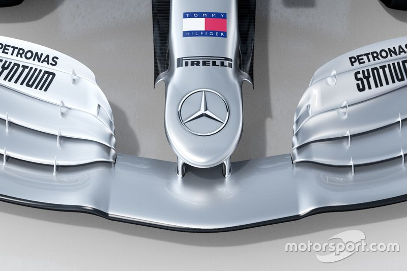 Mercedes AMG F1 W11 nose detail