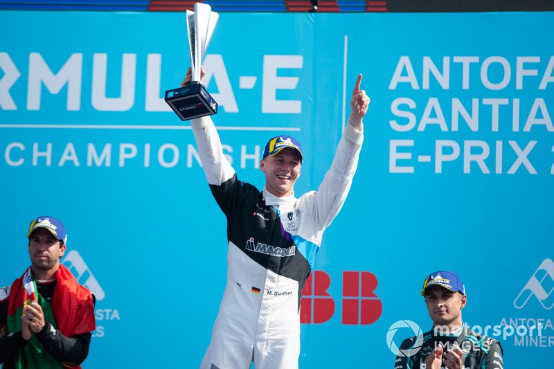 Race winner Maximilian Günther, BMW I Andretti Motorsports celebrates on the podium with Antonio Felix da Costa, DS Techeetah, 2nd position, Mitch Evans, Jaguar Racing, 3rd position